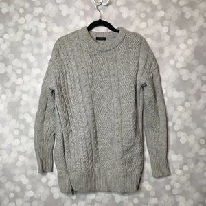 J. Crew Cable Knit Wool Side-Zip Sweater